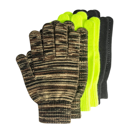3-Pair Pack Grip Dot Assorted Gloves - MUK LUKS
