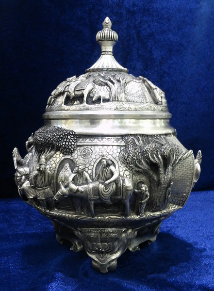 Unique Persian Silver Bowl Extra Fine Engraving