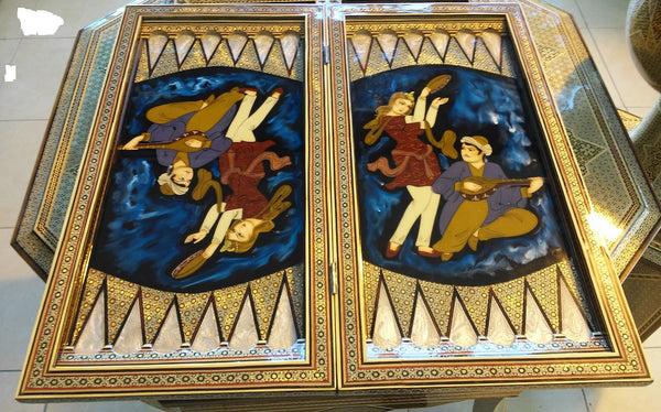Persian Khatam Marquetry Backgammon And Chess Board