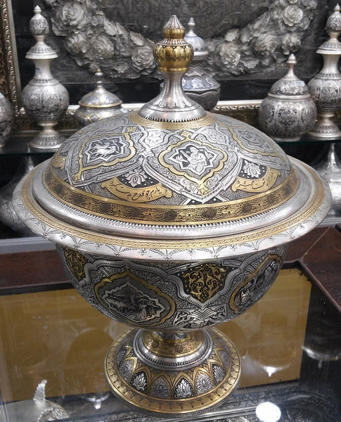 Persian Silver Repousse Bowl Gold Plated Silver Decorative