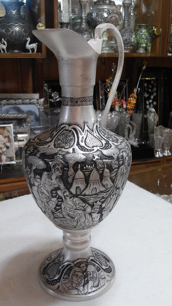 Beautiful Persian Silver Ewer Decorative And Collectible