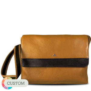 "Custom Messenger Leather Bag for Macbook 15"" - Vajacases"