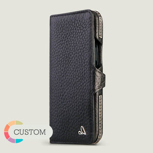 Customizable Silver Wallet iPhone 12 & 12 Pro Leather Case - Vaja