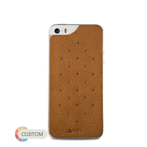 Customizable Leather Back - Premium Leather Back for iPhone SE - Vajacases