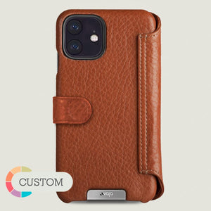 Custom iPhone XI R Wallet leather case with magnetic closure - Vaja
