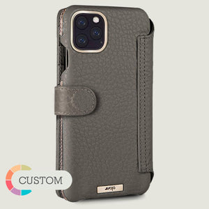 Custom iPhone 11 Pro Max Silver Wallet leather case with magnetic closure - Vaja