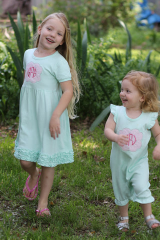Gentry's Closet Mint Angel Sleeve Romper and Ruffle Dress