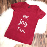 Be Joyful v-neck shirt - Red with White