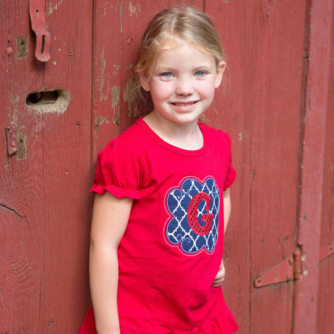 July 4th Ruffle Shirt with Monogram for Girls