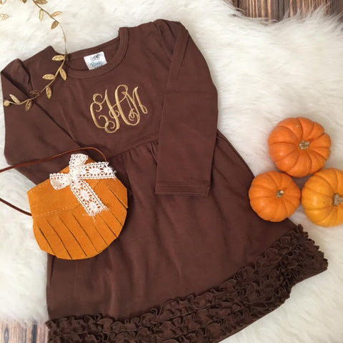 Monogrammed Brown Ruffle Dress.