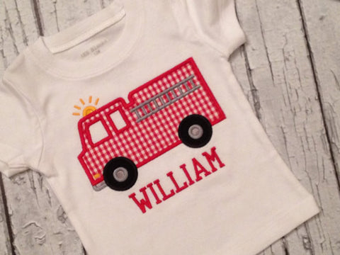 Boys' Personalized Fire Truck Shirt