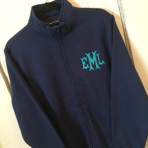 Monogrammed Full Zip Cardigan