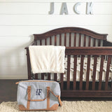 Navy Seersucker Monogrammed Overnight Hospital Bag