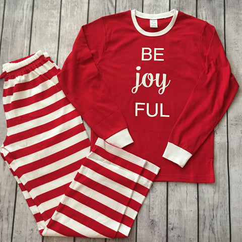 Christmas Pajamas - Adult With Be Joyful Design