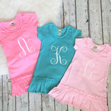 Girl's Monogrammed Drop-Waist Dress with Ruffles