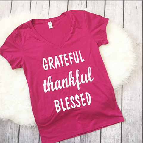 Grateful Thankful Blessed V-neck shirt