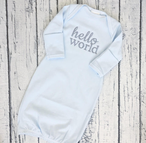 Hello World Baby Boy Gown - Blue