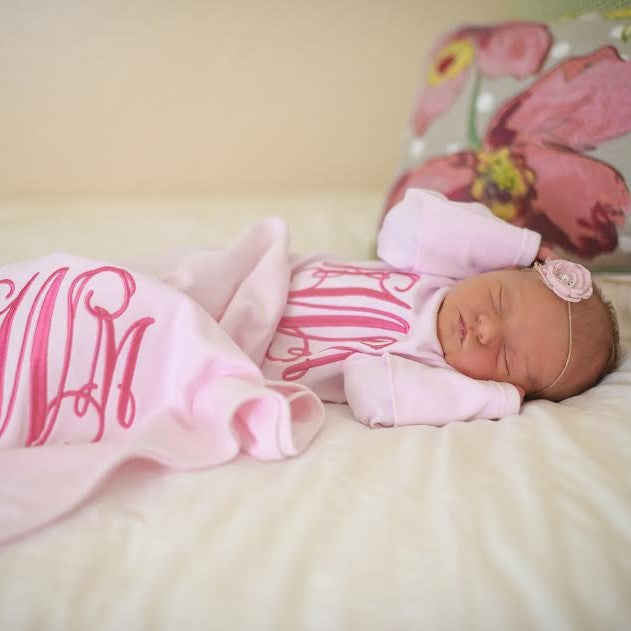 Monogrammed Baby Layette Set. Sleeper Gown & Matching Receiving Blanket.