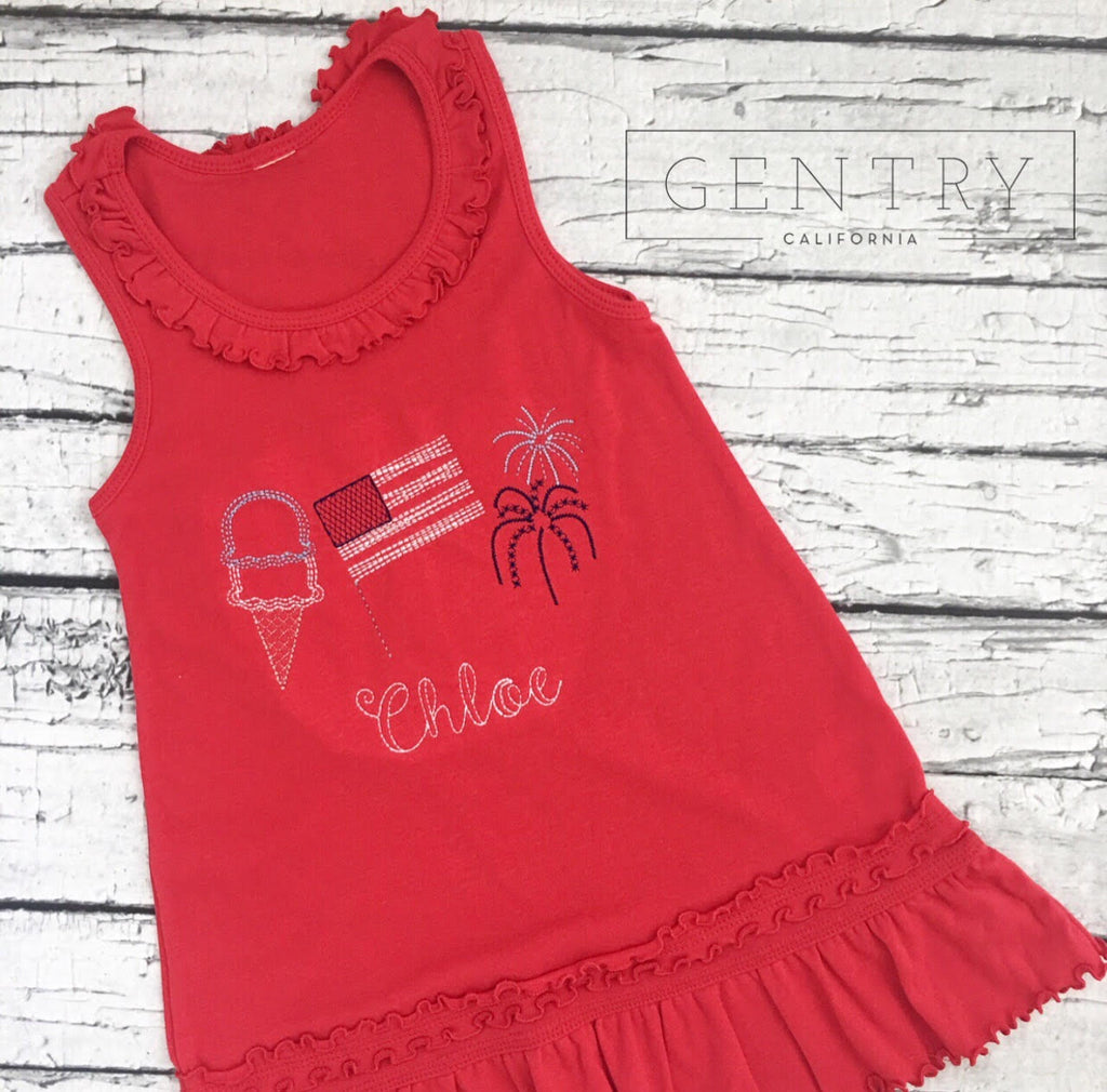 Girls' Personalized Patriotic Summer Dress