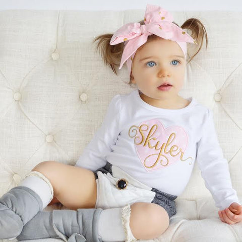 Girls' Customized Pink and Gold Heart Shirt