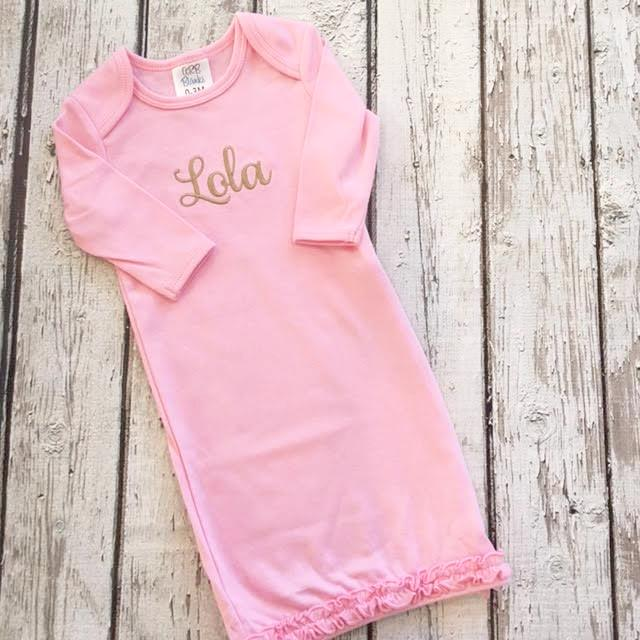 Personalized Pink Infant Gown - Baby Girl – Gentry California