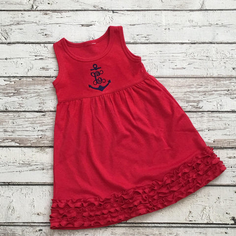 Monogrammed Red Anchor Ruffle Dress