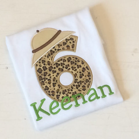 Boys' Jungle Safari Birthday Shirt with Cheetah Print