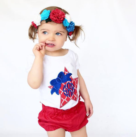 Fourth of July Star Shirt with Bow + Monogram