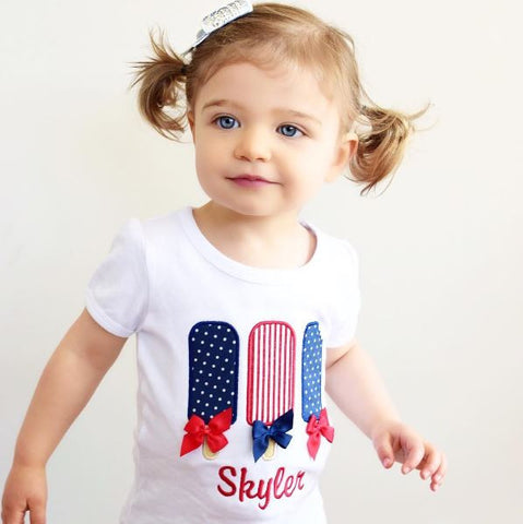 Girls' Personalized Patriotic Popsicle Shirt with Bows