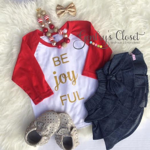 Be Joyful Christmas Shirt. Cute Be Joy Full Christmas Clothes for baby, toddler child. Holiday Santa shirt. Red and white baseball raglan.