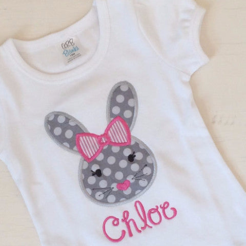 Easter Polka Dot bunny shirt with name.