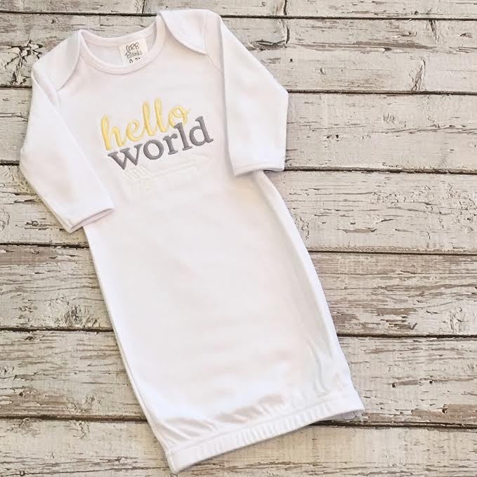 Hello World Embroidered Baby Gown - Unisex