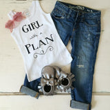 Girl with a Plan Graphic Tank - White