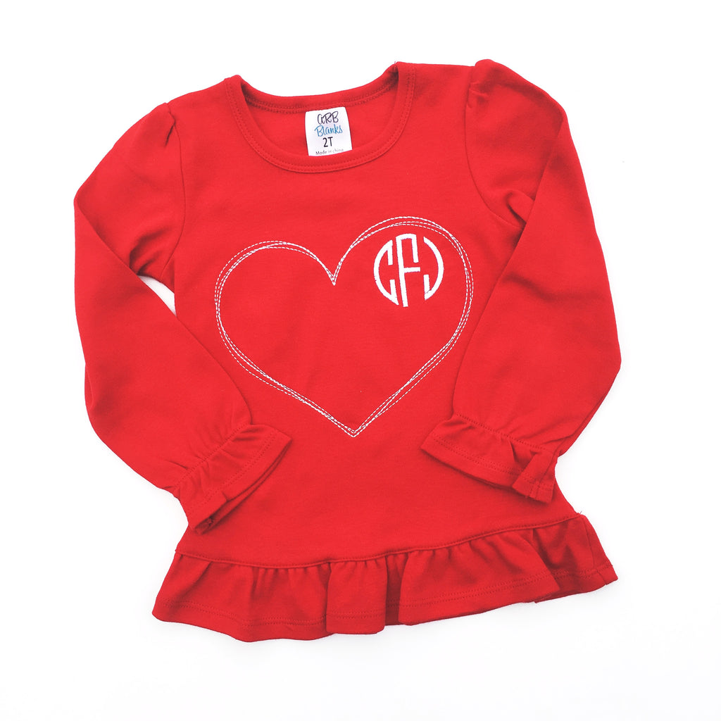 ae5eea348 Valentine's Day shirt. Girl's red, ruffle shirt with stitched heart and embroidered  monogram.