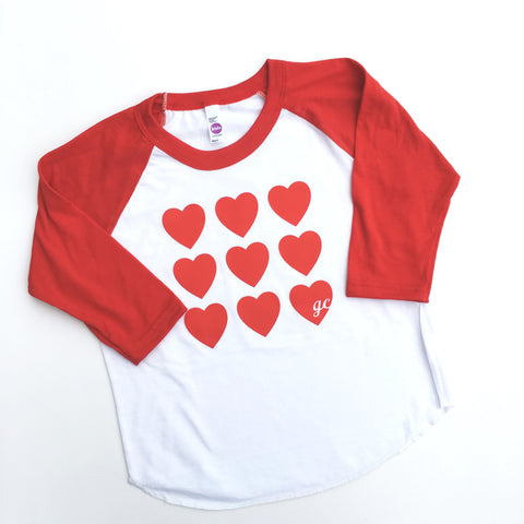 Many Hearts Kid's Raglan