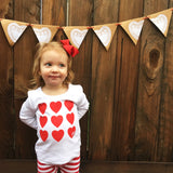 Many Hearts Valentine's Day Girl's Puffed Sleeve Shirt. Cute Valentine heart Clothes for baby, toddler child.