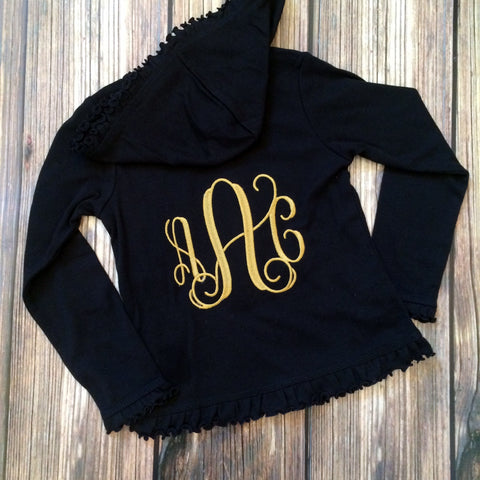 Girls Monogrammed Ruffle Hooded Sweatshirt