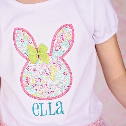 Easter Floral Bunny Shirt with Bow.