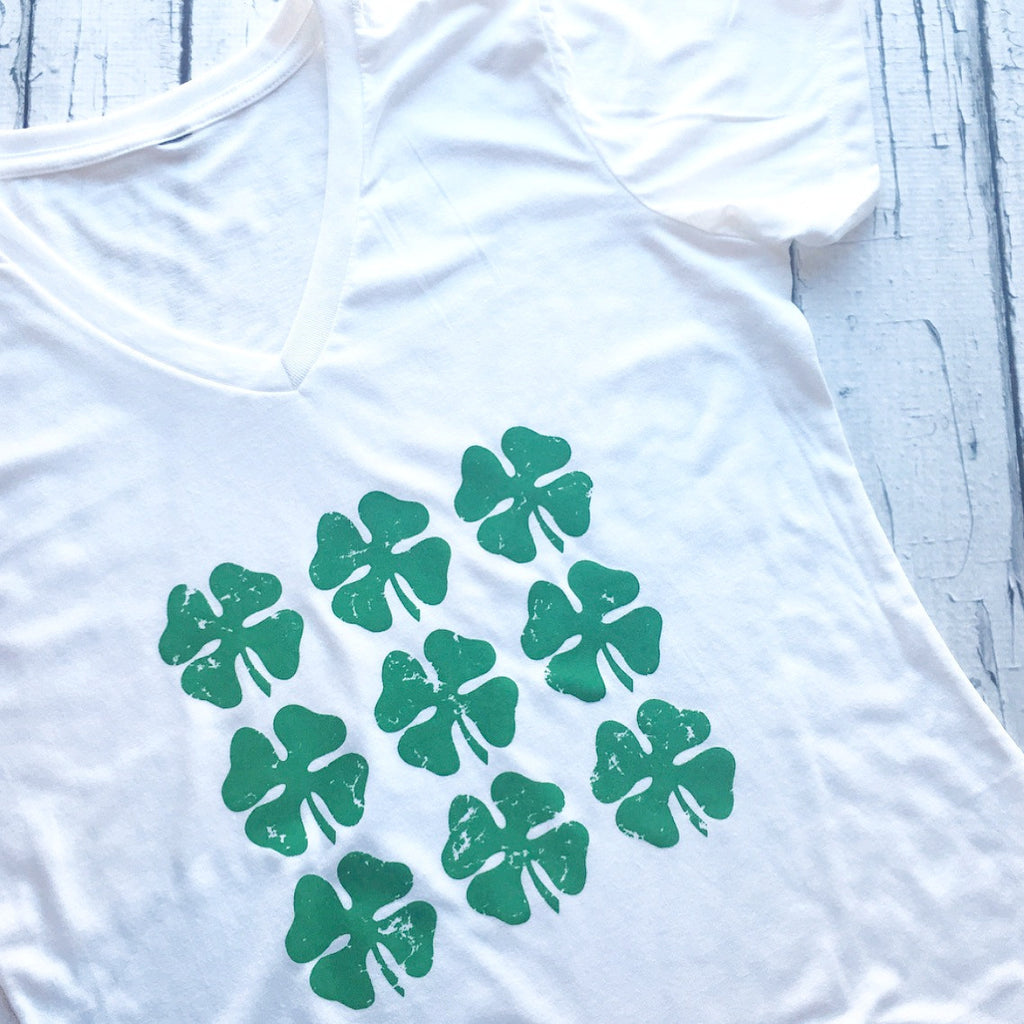 Women's Saint Patrick's Day, v-neck with Many Shamrocks.