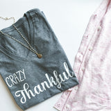 Crazy Thankful Women's V-Neck Graphic Tee