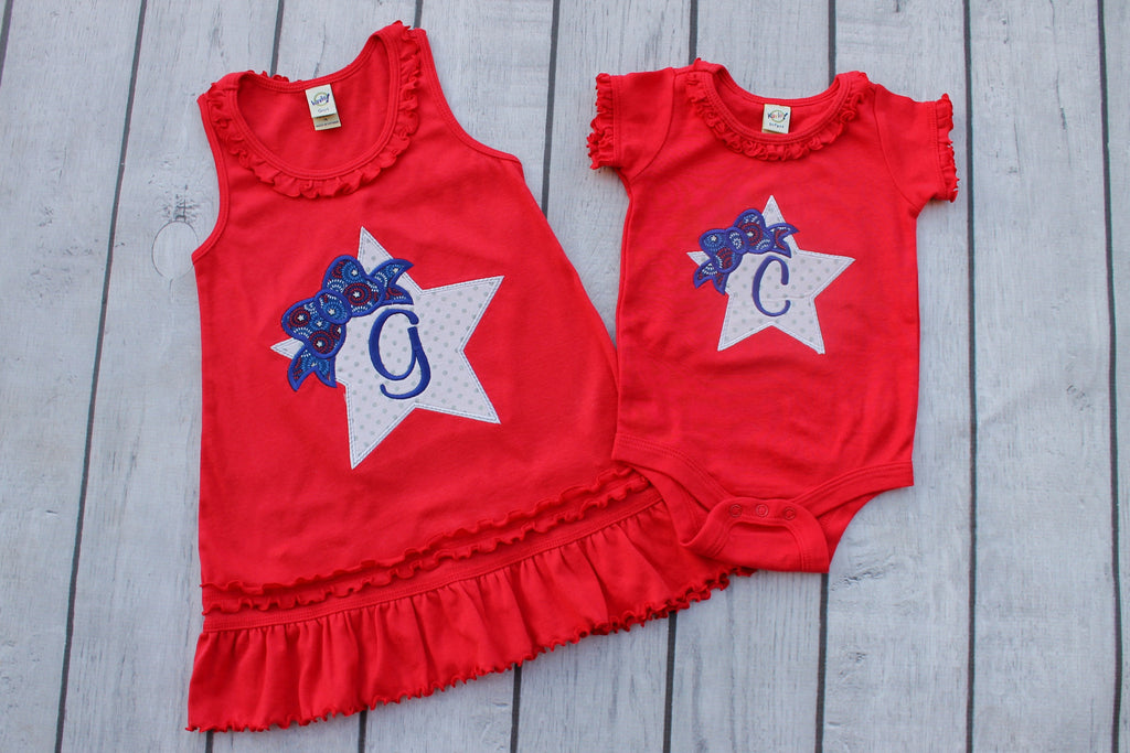 Red 4th of July Dress with Ruffles and Monogram for Little Girl.
