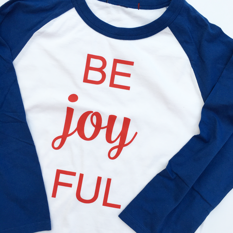 Be Joyful Classic Blue & Red Baseball Raglan