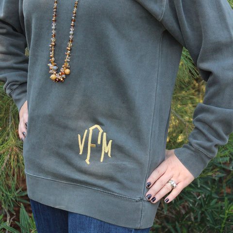 Comfort Colors Monogrammed Sweatshirt. Distressed sweat shirt for Woman w/ embroidered monogram. Fall Winter Clothing. Women's Sweatshirt.