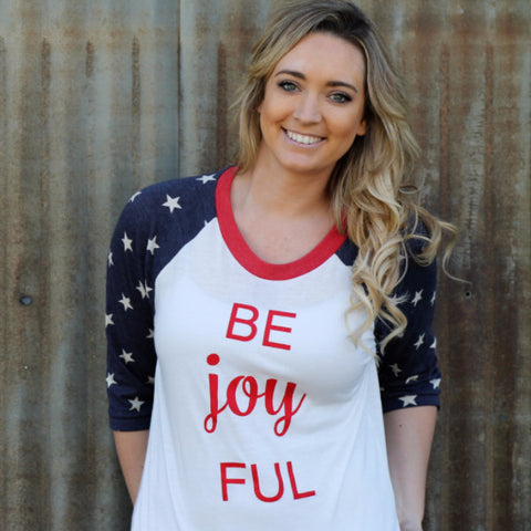 Be Joyful Patriotic Stars Baseball Raglan