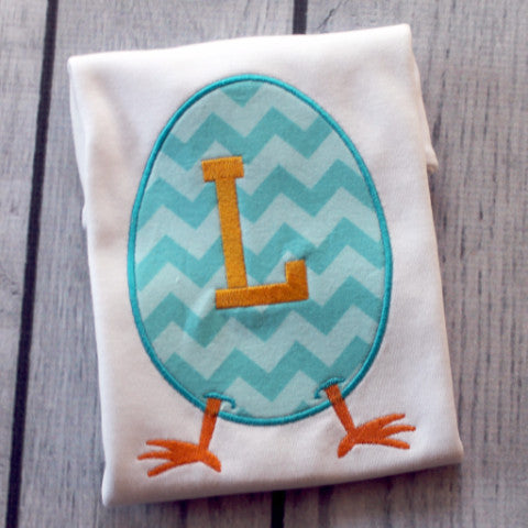 Chevron Easter Egg Appliqued Shirt or Bodysuit.