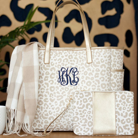 Natural Leopard Hayden Tote with Name or Monogram
