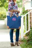 Navy Mini Dot Large Monogrammed Shoulder Bag