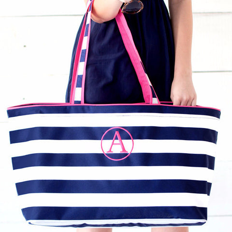 Wide Stripe Ultimate Monogrammed Tote Bag