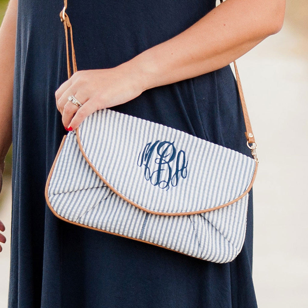 Navy Seersucker Clutch Monogrammed Purse
