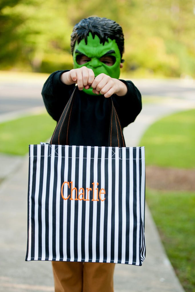 monogrammed halloween treat bag black stripe